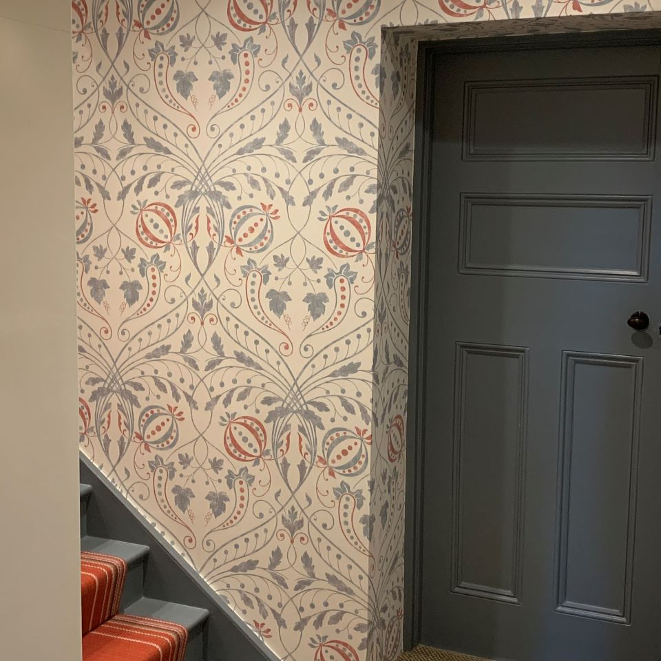 Stunning wallpaper and stair runner